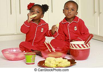 子供, 黒, 幸せ, かわいい, 食べること, スナック