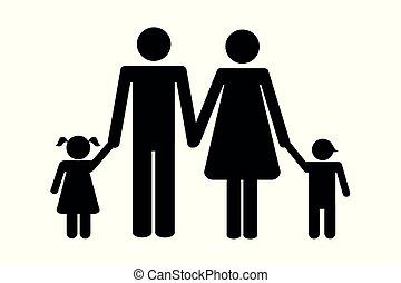 子供, 2, 家族, pictogram