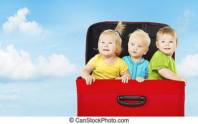 子供, 3, 遊び, スーツケース, 子供, 幸せ