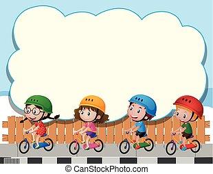子供, 4, 自転車, テンプレート, 乗馬, ボーダー
