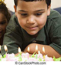 子供, birthday, cake.