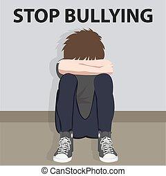 子供, bully, 止まれ, 若い, イラスト, いじめ, ベクトル, 犠牲者, 子供, いじめられた