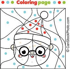 子供, claus, クリスマス, 新しい, ホリデー, santa, 霜, 点, activity., 年, printable, ゲーム, お父さん, page., 着色, 教育, 色, 主題