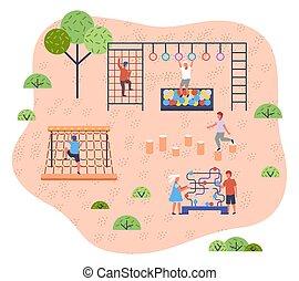 子供, creativity., イメージ, 現代, 運動場, 様々, 屋外の活動, kindergarten., 平ら