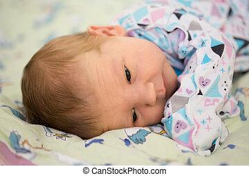 子供, dad., 大きい, 手, 父, 腕, 生まれたての赤ん坊, お母さん, 母, 小さい