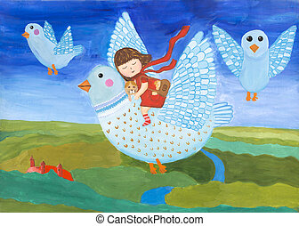 """子供, dream"""", """"magic, フライト, 絵, gouache"""