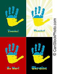 子供, handprint, ペンキ, ∥, 旗, の, ウクライナ, ベクトル