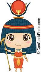 子供, hathor, 女の子, イラスト, エジプトの神