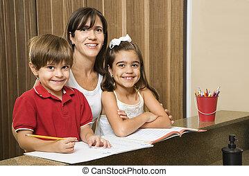 子供, homework., お母さん