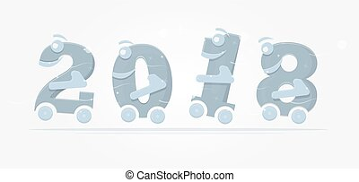 子供, illustration., 数字, カレンダー, brochure., 楽しみ, 車輪, ∥あるいは∥
