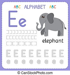 子供, kindergarten., アルファベット, 練習, 執筆, e.。, 手紙, 追跡, 練習, worksheet, 幼稚園