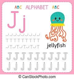 子供, kindergarten., アルファベット, 練習, 執筆, j., worksheet, 手紙, 追跡, 練習, 幼稚園