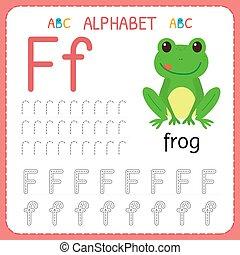 子供, kindergarten., アルファベット, 練習, 執筆, worksheet, 幼稚園, 手紙, 追跡, 練習, f.。