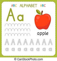子供, kindergarten., アルファベット, 練習, 執筆, worksheet, 手紙, 追跡, 練習, a.。, 幼稚園