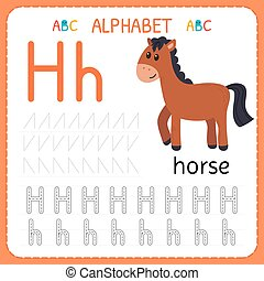 子供, kindergarten., アルファベット, 練習, 執筆, worksheet, h., 手紙, 追跡, 練習, 幼稚園