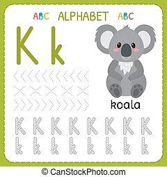 子供, kindergarten., アルファベット, 練習, k., 執筆, worksheet, 手紙, 追跡, 練習, 幼稚園