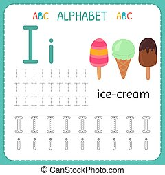 子供, kindergarten., 追跡, アルファベット, 練習, 執筆, worksheet, 手紙, i., 練習, 幼稚園