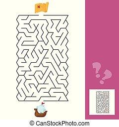子供, labyrinth., 困惑, -, s, ゲーム, 答え, 船, maze., 子供