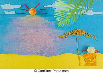 子供, play:relaxing, 上に, a, 浜