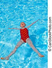 子供, pool., 水泳