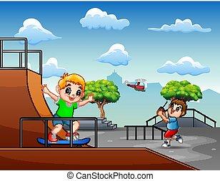 子供, skatepark, 漫画, 楽しい時を 過すこと
