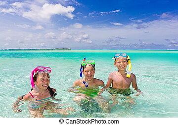 子供, snorkeling, 海