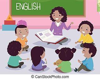 子供, stickman, アフリカ, イラスト, 英語, 教師