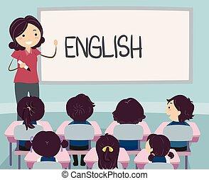 子供, stickman, イラスト, アジア人, 英語, 教師