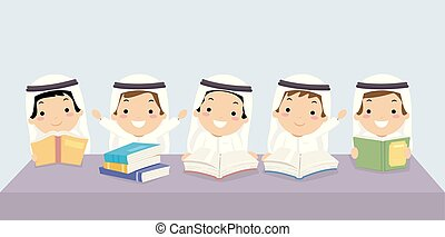 子供, stickman, イラスト, 同級生, 本, 男の子