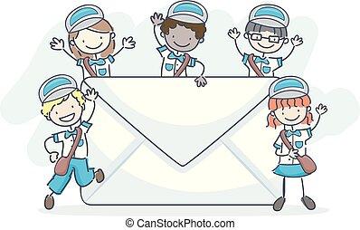 子供, stickman, イラスト, 手紙, メール, 人