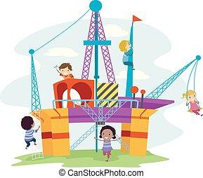 子供, stickman, ガス, 油田採掘, 運動場