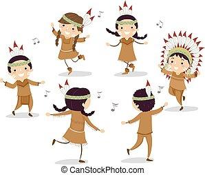 子供, stickman, ダンス, アメリカ人, 円, ネイティブ