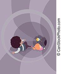 子供, stickman, トンネル, イラスト, 下方に, スライド