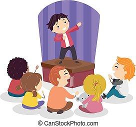 子供, stickman, 喜劇, イラスト, ショー