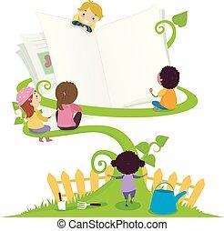 子供, stickman, 庭, 勉強しなさい, イラスト, 本