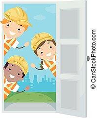 子供, stickman, 懸命に, イラスト, ドア, 帽子