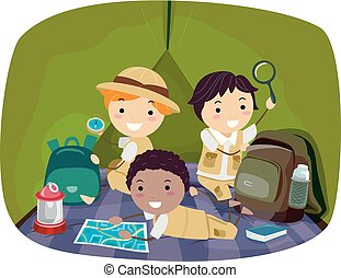 子供, stickman, 探検家, イラスト, 男の子, テント