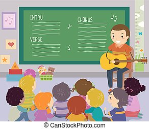 子供, stickman, 教師, イラスト, 歌