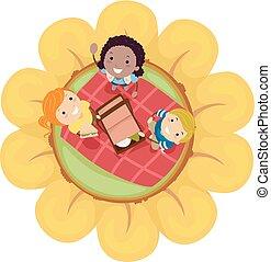 子供, stickman, 春, イラスト, 花, ピクニック
