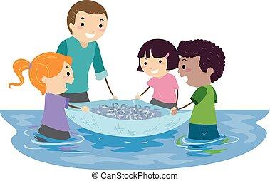 子供, stickman, fish, イラスト, 網, 勉強しなさい