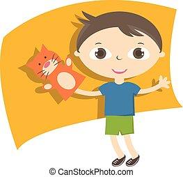 子供, toy., イラスト, 手, ベクトル, パペット, 小さい