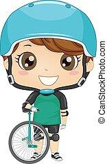 子供, unicycle, 男の子, イラスト