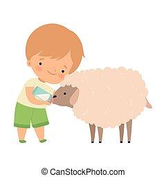 子羊, かわいい, わずかしか, 供給, 男の子, 農場, ミルク, イラスト, 心づかい, ベクトル, 動物, びん, 愛らしい, 漫画, 子供