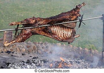 子羊, 焼き肉, つば
