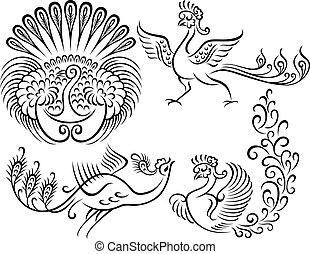 孔雀, スタイル, 鳥, 入れ墨