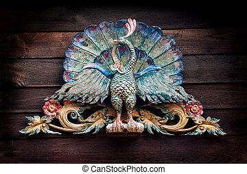 孔雀, 古い, カラフルである, 彫刻