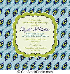 孔雀, 型, 招待, -, 主題, ベクトル, 結婚式, カード
