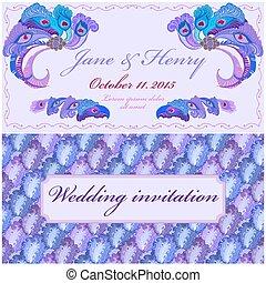 孔雀, 型, 羽, 優雅である, invitation., 結婚式, design.