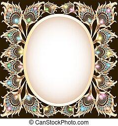 孔雀, 形態, 金, フレーム, 装飾, fe, 背景