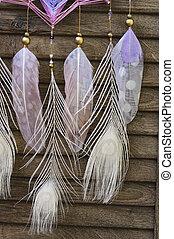 孔雀, 星, dreamcatcher, 木製である, 現代, 羽, クローズアップ, amethyst, 背景, mandala